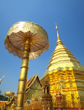Die Tempelanlage Wat Phra That Doi Suthep ist das Wahrzeichen Chiang Mais - die vergoldetete Chedi, soll eine Reliquie des Buddha enthalten.