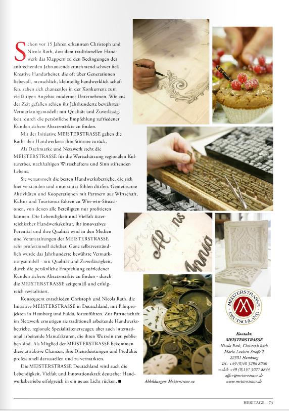 Beitrag über die MEISTERSTRASSE im HERITAGE-Guide Magazin 2/2015